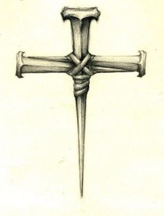 Iron Nails Cross Tattoo Design