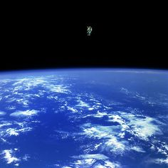 """Mission Specialist Bruce McCandless II, is seen further away from the confines and safety of his ship than any previous astronaut has ever been."" (Read more at the link. Also, look at more of NASA's pics!)"