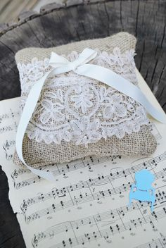 BURLAP AND LACE   Burlap and lace ring bearer pillow by candaceashley on Etsy
