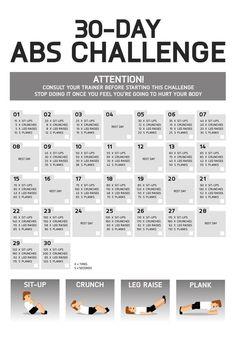 ABS CHALLENGE ! Sixpack exercises 30 days winter and summer plan. Bauchmuskeln, Abs trainieren mit Crunches, Sit Ups, Leg Raise, Plank - mega Abs Plank Challenge für zu Hause.