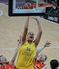 Australia's Liz Cambage makes a lay up.