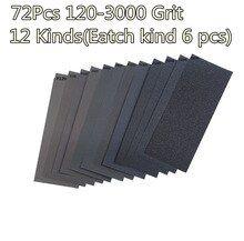 72pcs Set Wet Dry Sandpaper 120 3000 Grit Assortment Abrasive Sanding Paper
