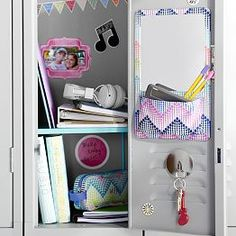 lovely locker decor that consists of a shelf e z board pencil holder and