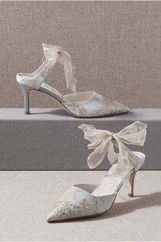 hochzeitsschuhe ivory Something Bleu Elvie Mules In Blue - Size: 10 - at BHLDN Dr Shoes, Blue Shoes, Shoes Heels, Pumps, Silver Shoes, Formal Shoes, Something Blue, Badgley Mischka, Bridal Accessories