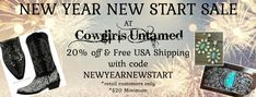 WELCOME the new year with an updated look and SAVE! Save 20% & get FREE USA SHIPPING on your COWGIRLS UNTAMED order of ONLY $20+! Ends 1/4/2021 *retail customers only COWGIRLS UNTAMED - wholesale & retail #sale #NEWYEARS #quote #women #fashion #cowgirls #deals #freeshipping #save #clothing #westernpurses #pursesale #dresssale #westernwear #jewelrysale #handmadejewelry #westernjewelry #cowgirlfashion #cowgirlstyle #western #style #cowgirlboots #leatherboots #ridingboots #horses #horseriding