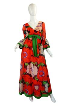 1960s Flower Power Red Chiffon Mollie Parnis