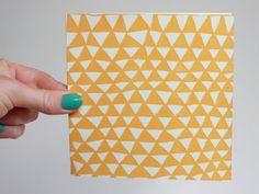 Screenprinted Greetings Card - 'Mountains' Pattern, Dijon Colourway
