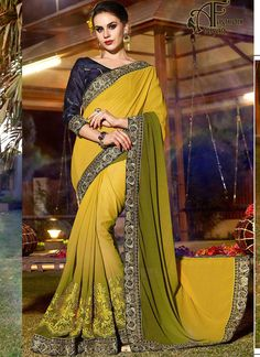 Yellow party wear sarees with price – georgette sarees online cheap