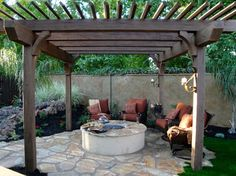 Fire pit with builtin seating covered by a pergola Nice little