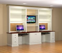 Kid's computer desks / office, with a painted white finish. The center column includes a pullout printer tray, and the right and left drawer stacks include a file drawer in the lower drawer.…