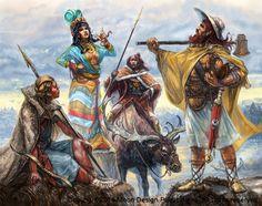 Four Manirians: Auloring riverman, Handra Liv priestess, Pralori Elk Rider, Solanthi warrior.