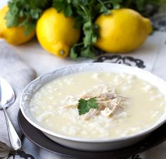 Greek Lemon Chicken Soup is a thick bright soup served with rice and shredded chicken to make a satisfying meal. Make it today with @panningtheglobe