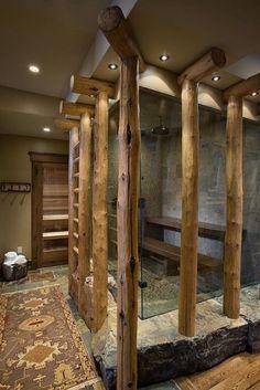 Salle de bain rustique, toute en transparance, bois et pierre