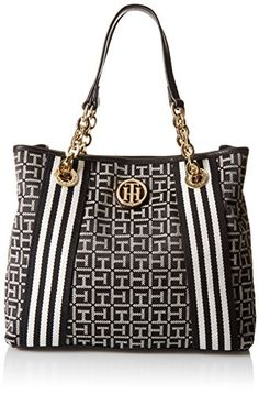 5ad80590 Women's Shoulder Bags - Tommy Hilfiger Web Jacquard Shopper BlackWhite *  Want to know more,
