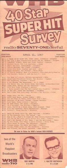 WHB 710 AM Top 40 April 21, 1967 New Music 10