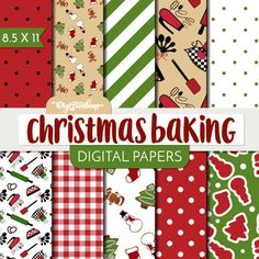 These Christmas Baking Scrapbook Digital Papers are fun, festive, and printable! Use in traditional scrapbooking, digital scrapbooking, card making,