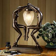 XoticBrands Bronze Nude Dancers Art Deco Sculpture Statue Table Lamp Inspired by Auro. Art Nouveau, Antique Lamps, Vintage Lamps, Lampe Art Deco, Art Deco Lighting, Art Deco Period, Art Deco Furniture, Led, Art Deco Design