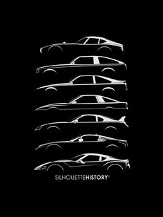 Silhouette of Toyota/Lexus sports cars: 2000 GT, Celica Supra (mk1, mk2), Supra (mk3, mk4), Lexus LFA, Toyota FT-1 Concept