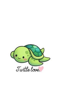 Turtle love wallpaper by - - Free on ZEDGE™ Cute Turtle Drawings, Cute Turtle Cartoon, Kawaii Turtle, Cute Cartoon Drawings, Cute Kawaii Drawings, Cute Animal Drawings, Love Wallpaper, Wallpaper Iphone Cute, Cute Baby Turtles