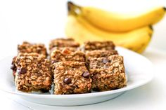 Healthy Peanut Butter Banana Chocolate Chip Oatmeal Bars