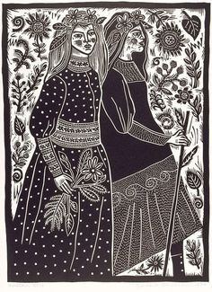 Linocut by Barbara Hanrahan, print, pattern, design, flowers, nature, people, lino, printmaking, illustration, folk