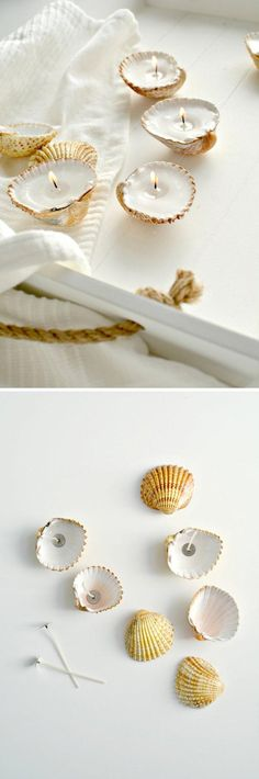 Handmade Shell Candles | Bathroom Decorating Ideas on a Budget