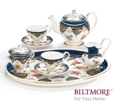 """#burtonandburton Vanderbilt service 8 piece mini tea service.  Porcelain.  Hand wash only.<br>4 3/4""""H X 9""""W X 7""""D.<br>1 set.<br><br><br>The Biltmore House is located in the beautiful Blue Ridge Mountains in Asheville, North Carolina. George Vanderbilt was inspired to build this country estate in 1888 while on a short vacation in western North Carolina. <br><br> The estate and surrounding 125,000-acre grounds were designed by the creator of New York's Central Park, Frederick Law Olmstead. His…"""