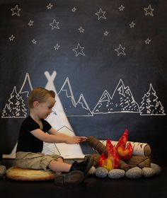 Chalkboard Campsite Backdrop - Camping Theme