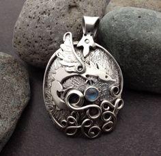 Blue moonstone & dragon pendant medium sized solid by ElfinWorks