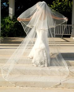 Full Cathedral Wedding Veil - Drop Style with Satin Edge and Blusher Layer - Memphis on Etsy, $155.00