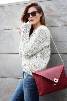 Lovely sweater and envelope clutch | Lady Addict, October 2013