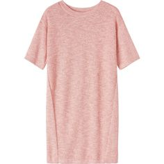 Toast Totto Dress ($47) ❤ liked on Polyvore featuring dresses, tops, vestidos, shirts, 2 tone dress, drop shoulder dress, sweater dresses, sleeved dresses and pink dress