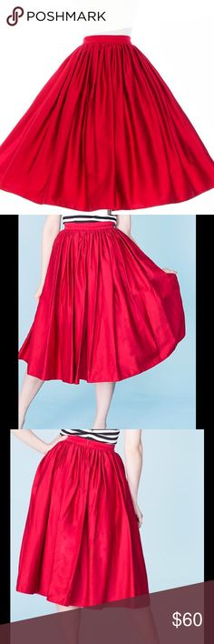 """Pinup Couture/Pinup Girl Clothing Jenny Skirt Just like the full skirts of the 1950s the American-made Jenny Skirt is made out of high-quality cotton sateen to get the most fullness with the neatest gathers and a wide waistband and back zipper for a nipped in waist. Flattering for every body type, the fullness of the Jenny Skirt works to slim bigger hips and make your waist look smaller while also creating instant curves. Waist measures 22"""".  I'm only selling this because it does not fit me…"""