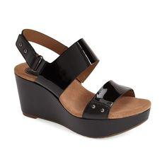 "Clarks 'Caslynn Dez' Patent Leather Platform Sandal, 3"" heel ($80) ❤ liked on Polyvore featuring shoes, sandals, black patent leather, clarks shoes, wedges shoes, black wedge shoes, black sandals and black wedge sandals"