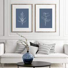 Set of 2 Prints Botanical Print Set Dan Hobday Art Botanical Wall Art, Botanical Prints, Orange Art, Modern Farmhouse Decor, Blue Walls, Large Wall Art, Blue Backgrounds, Home Art, Gallery Wall