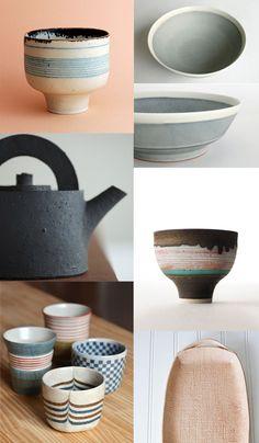 {1. Lucie Rie cup 2. Yumiko Iihoshi ceramics 3. Julian Stair teapot 4. Lucie Rie…