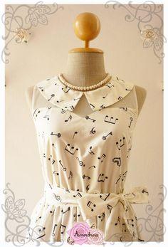 Music Dress Peter Pan Collar Dress Concert Dress por Amordress