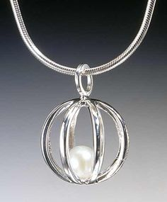 54326dd266ca Sphere Cage Pendant by Patricia Madeja - Sterling Silver (Silver   Pearl  Pendant)