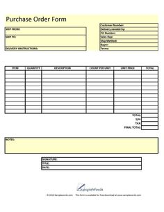 Download A Free Purchase Order Template For Excel  A Simple Way