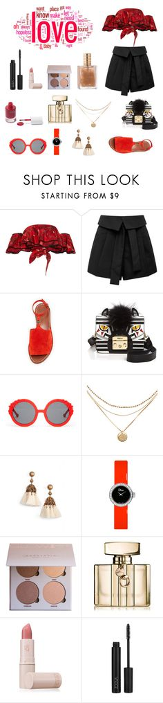 """black and red"" by fashionpastaofficial ❤ liked on Polyvore featuring Johanna Ortiz, Marissa Webb, Tory Burch, Furla, Preen, Loren Hope, Christian Dior, Gucci, Lipstick Queen and rms beauty"