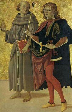 Pietro Perugino: Sant'Antonio da Padova e San Sebastiano. Date circa 1476-78Current location Musée des Beaux-Arts de Nantes