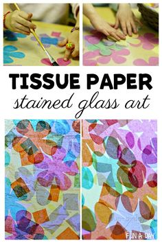 Two Ways to Make Tissue Paper Stained Glass Art for Spring Introduce preschoolers to tissue paper stained glass art with this fun process art activity. Love that it shares two ways to make stained glass art with tissue paper shapes. Arts And Crafts For Teens, Art And Craft Videos, Art For Kids, Art With Toddlers, Art For Preschoolers, Papel Tissue, Tissue Paper Crafts, Making Stained Glass, Stained Glass Crafts
