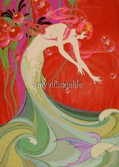$8.5 - Vintage Flowing Art Deco Mermaid Quilting Fabric Block #ebay #Home & Garden