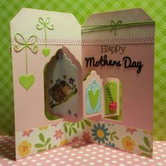 Caz Counsell using the Pop it Ups Tags Pivot Card die set by Karen Burniston for Elizabeth Craft Designs. - A STAMPING & CHIRPING Corner: Happy Mothers day.