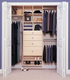 Basic Reach in closet -- simple, yet truly organized and practical with long hang, double hang, shelving, and drawer areas. Even a couple of shoe shelves!