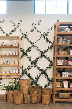 Spring at the Market - Magnolia Market Cafe Interior, Shop Interior Design, Store Design, Magnolia Market, Magnolia Homes, Magnolia Store Waco, Magnolia Farms, Flower Shop Design, Ivy Wall