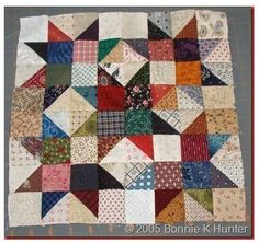"Bonnie Hunter's (Quiltville) Scrap Crystals.  This is a 12"" block."