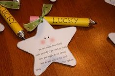 "pencil made from a mentos and a hershey kiss with encouraging words on the star note.. """"You are ready, feel strong!  Work carefully & you won't go wrong!  Use your noggin, do not stress!  Just do your best on the test!"""