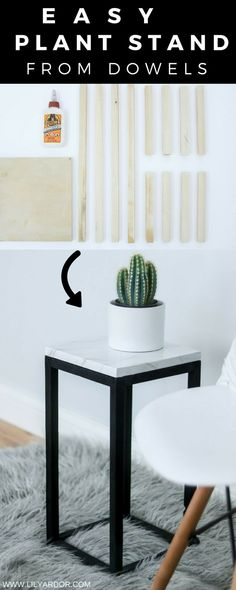 Here's a modern plant stand you can make using some wooden dowels. + Learn how to create a marble effect on any surface using a feather #whitemarble #plantstand