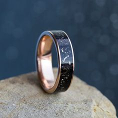 Gold Stardust Wedding Band, Rose Gold Ring With Meteorite-3643